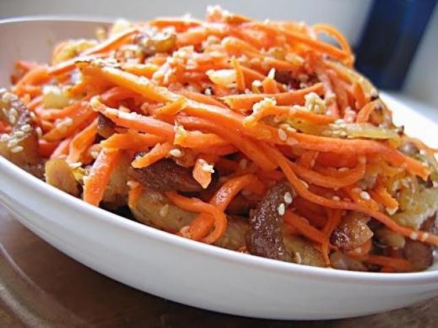 Рецепт салата свинина с морковкой