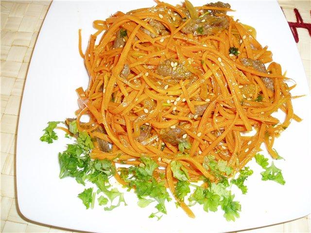 Салат из моркови лука и говядины